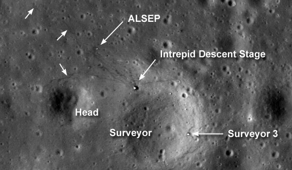 LRO photo showing in detail the landing site of Apollo XII.