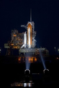 Atlantis sits on the pad in the early dawn hours